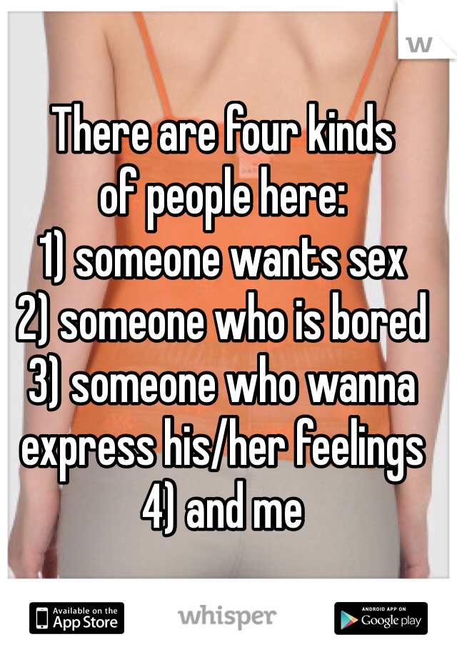 There are four kinds of people here: 1) someone wants sex 2) someone who is bored 3) someone who wanna express his/her feelings 4) and me