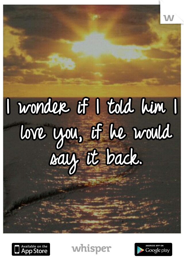 I wonder if I told him I love you, if he would say it back.