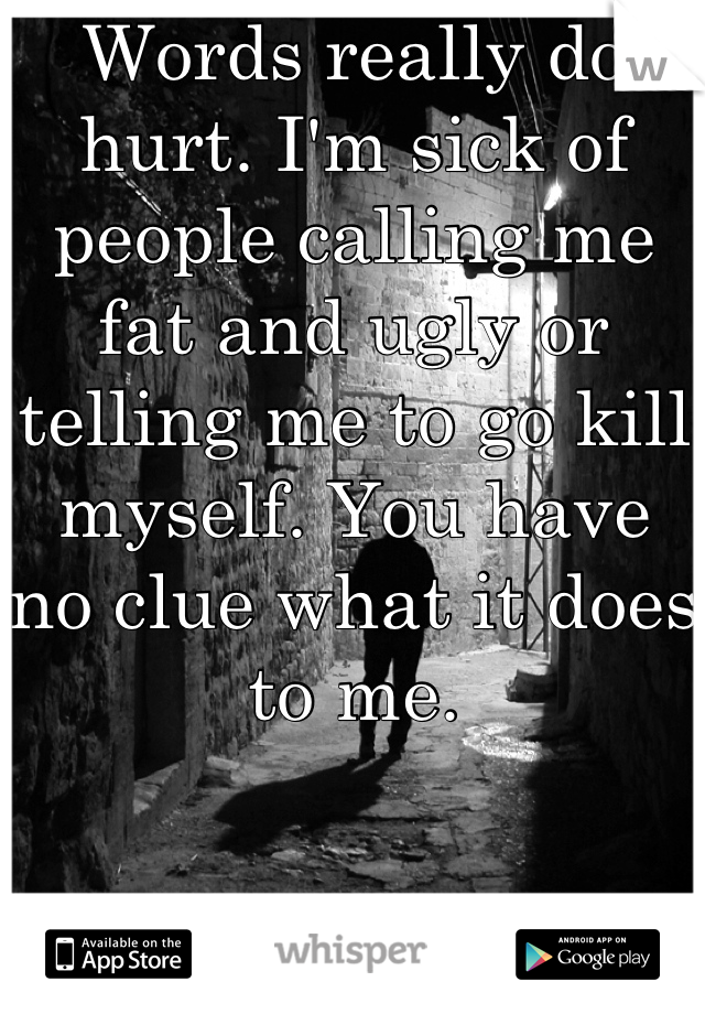 Words really do hurt. I'm sick of people calling me fat and ugly or telling me to go kill myself. You have no clue what it does to me.
