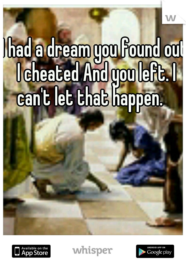 I had a dream you found out I cheated And you left. I can't let that happen.