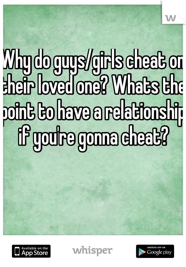 Why do guys/girls cheat on their loved one? Whats the point to have a relationship if you're gonna cheat?