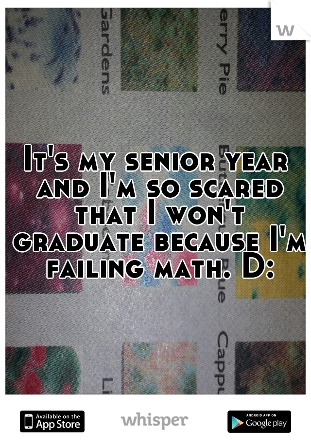 It's my senior year and I'm so scared that I won't graduate because I'm failing math. D:
