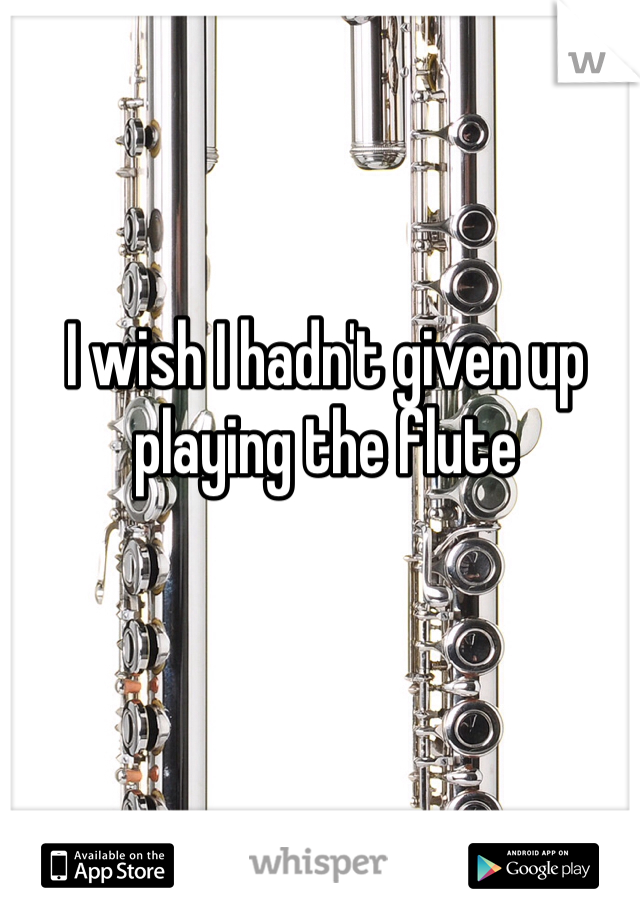 I wish I hadn't given up playing the flute