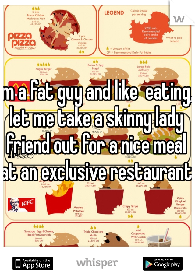 Im a fat guy and like  eating, let me take a skinny lady friend out for a nice meal at an exclusive restaurant