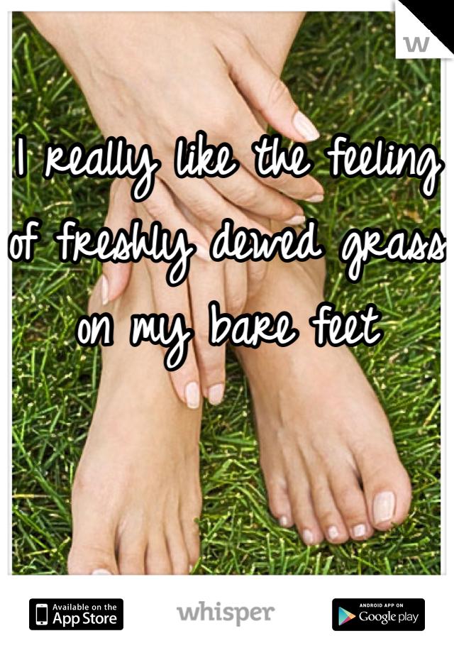 I really like the feeling of freshly dewed grass on my bare feet