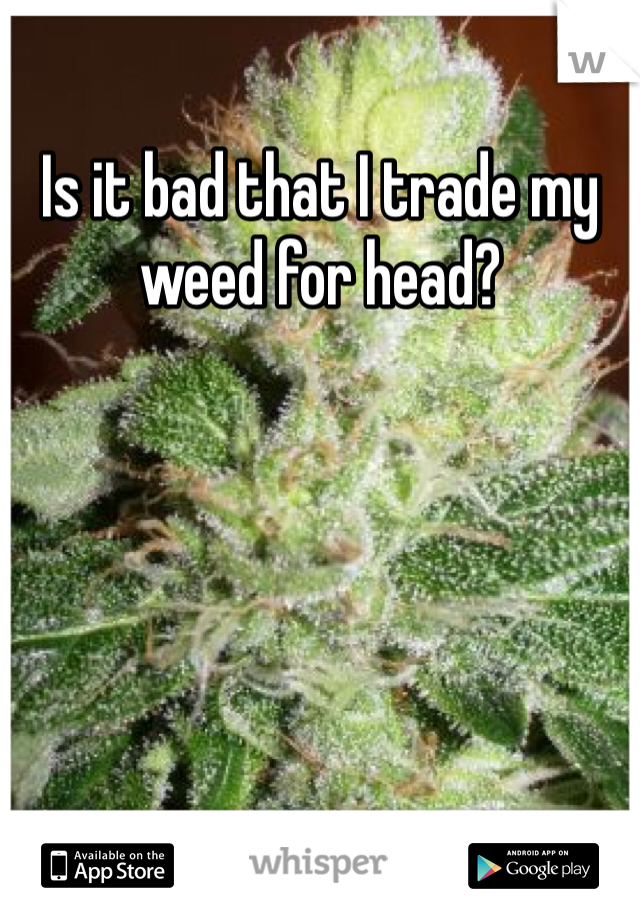 Is it bad that I trade my weed for head?