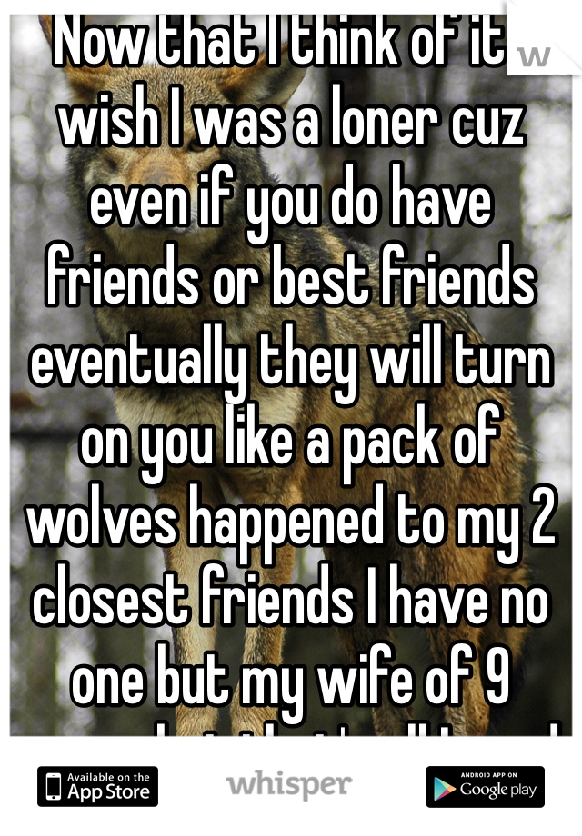 Now that I think of it I wish I was a loner cuz even if you do have friends or best friends eventually they will turn on you like a pack of wolves happened to my 2 closest friends I have no one but my wife of 9 years but that's all I need