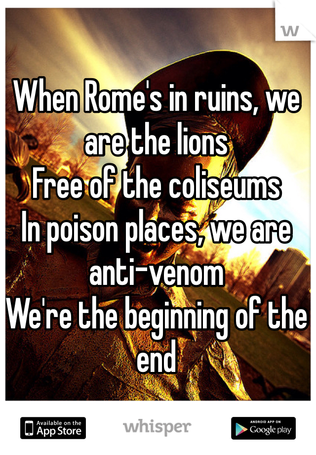 When Rome's in ruins, we are the lions Free of the coliseums In poison places, we are anti-venom We're the beginning of the end