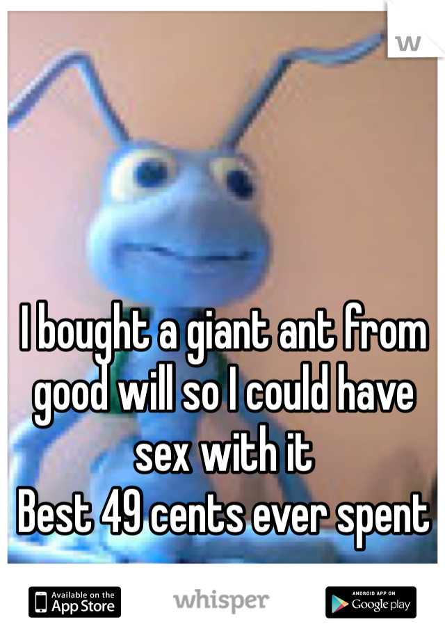 I bought a giant ant from good will so I could have sex with it  Best 49 cents ever spent