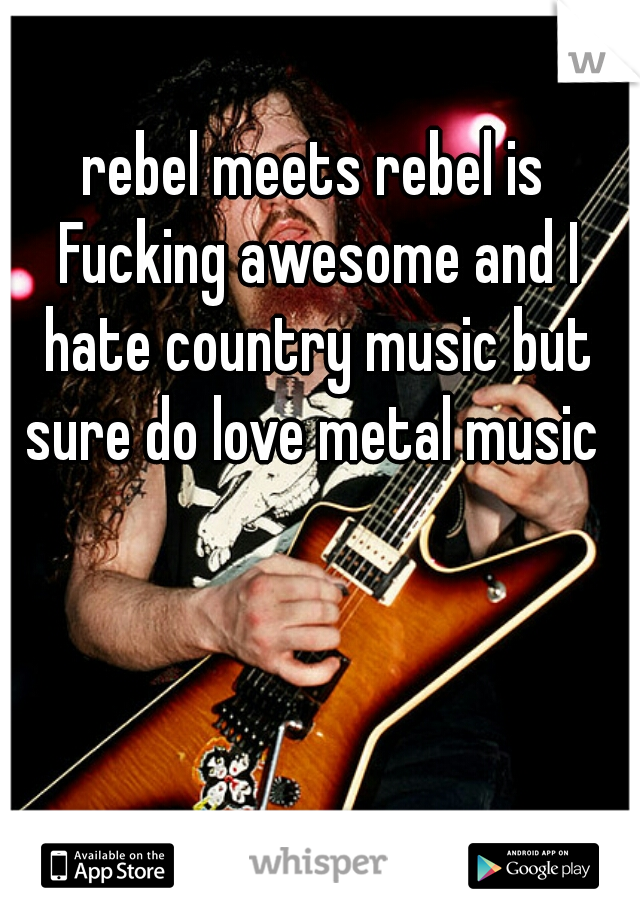 rebel meets rebel is Fucking awesome and I hate country music but sure do love metal music