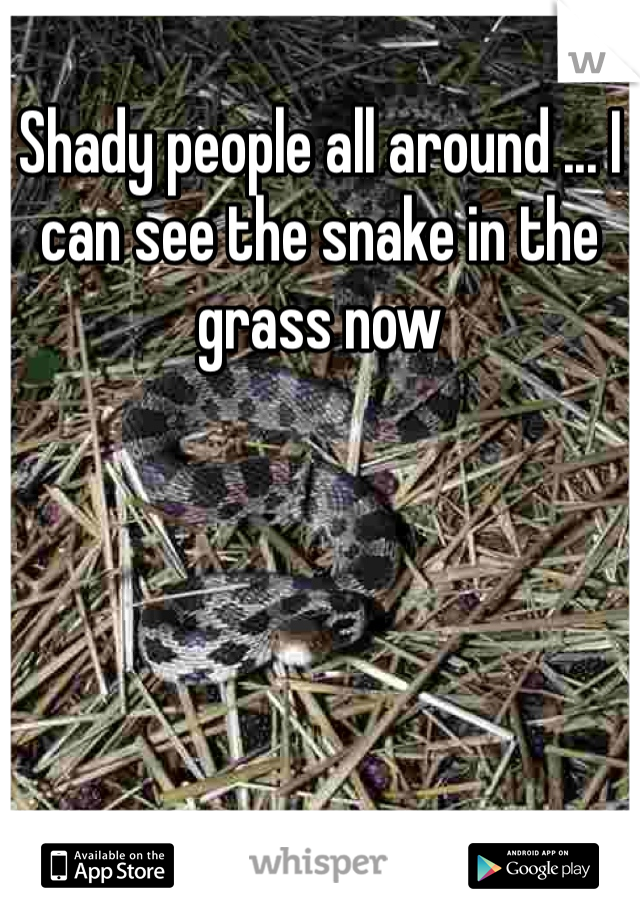 Shady people all around ... I can see the snake in the grass now