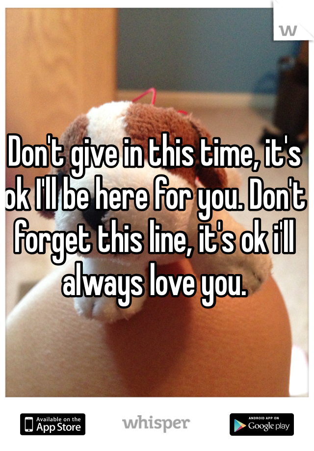 Don't give in this time, it's ok I'll be here for you. Don't forget this line, it's ok i'll always love you.