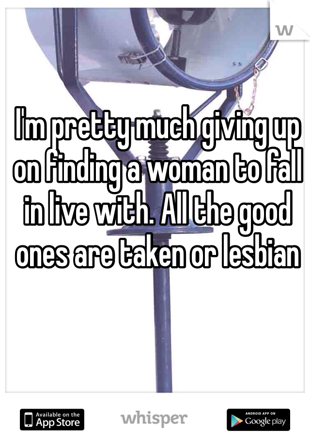 I'm pretty much giving up on finding a woman to fall in live with. All the good ones are taken or lesbian