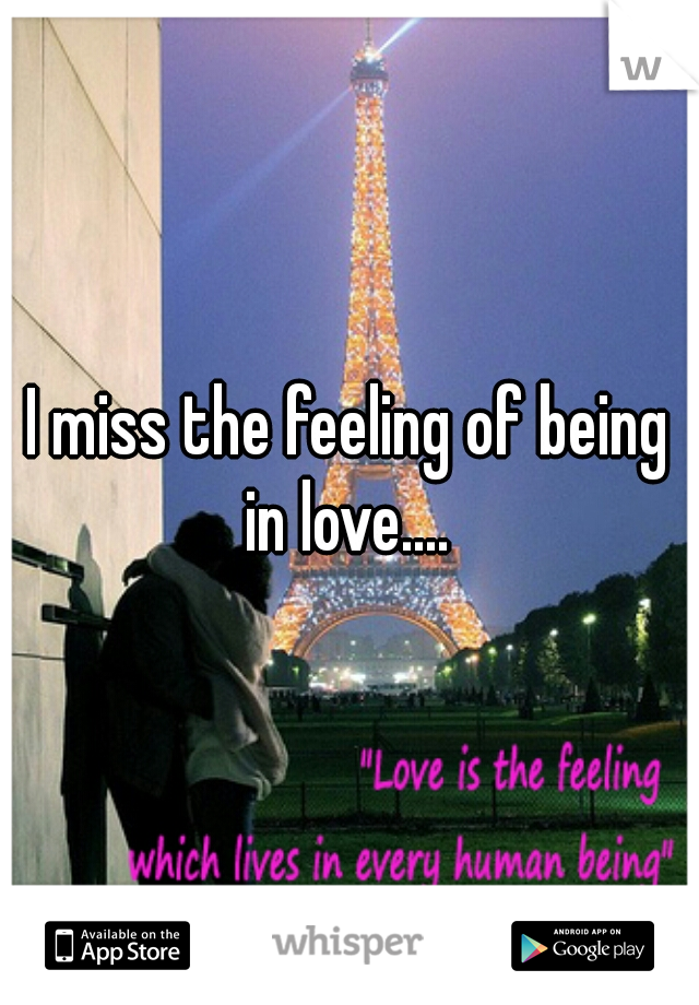 I miss the feeling of being in love....