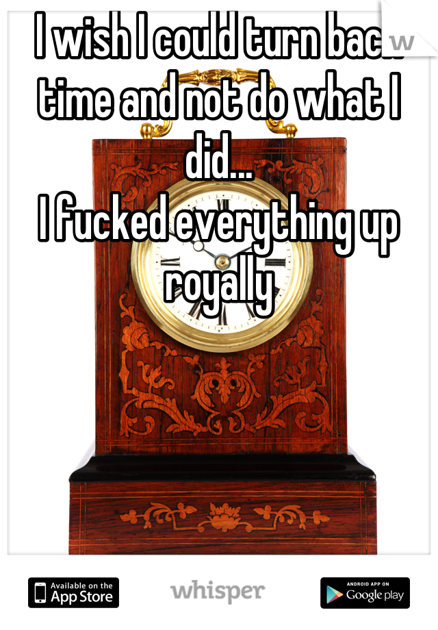 I wish I could turn back time and not do what I did... I fucked everything up royally