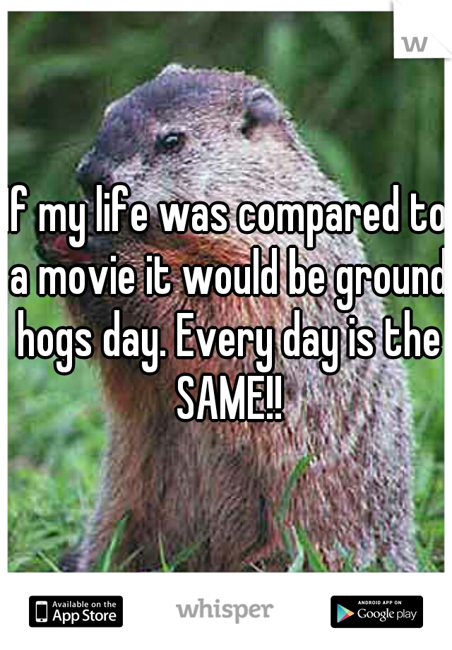 If my life was compared to a movie it would be ground hogs day. Every day is the SAME!!