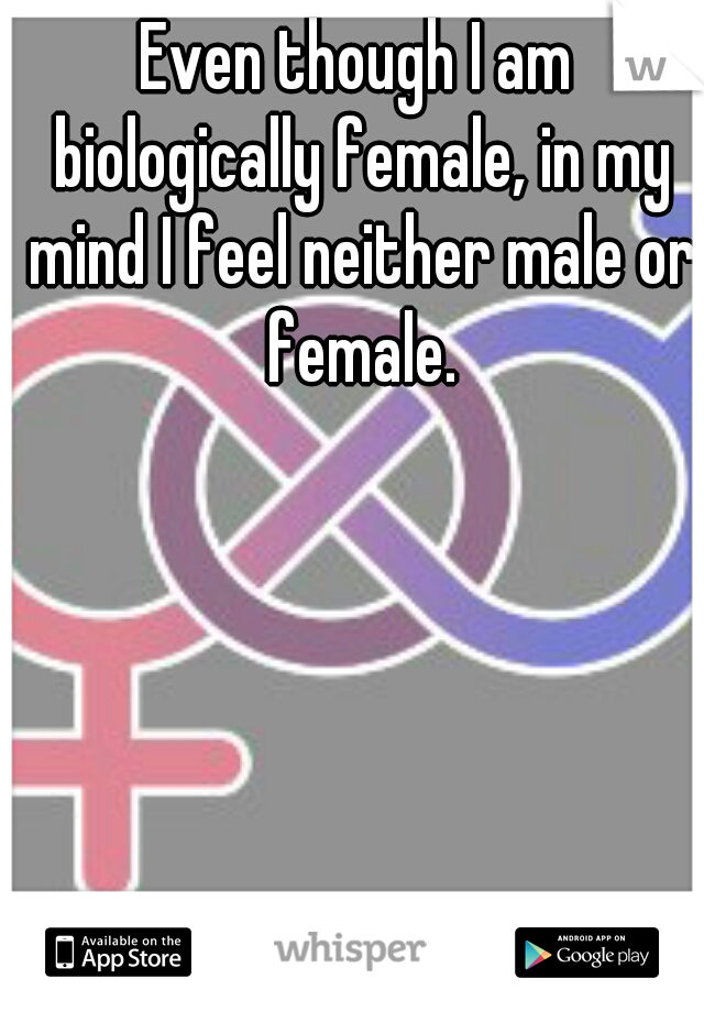 Even though I am biologically female, in my mind I feel neither male or female.