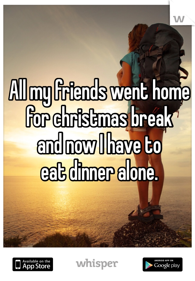 All my friends went home  for christmas break  and now I have to  eat dinner alone.