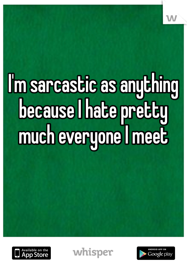 I'm sarcastic as anything because I hate pretty much everyone I meet