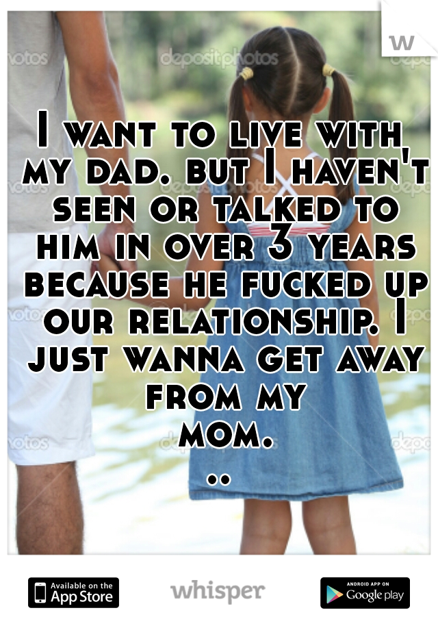 I want to live with my dad. but I haven't seen or talked to him in over 3 years because he fucked up our relationship. I just wanna get away from my mom...