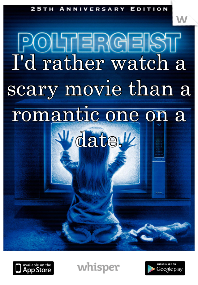 I'd rather watch a scary movie than a romantic one on a date.