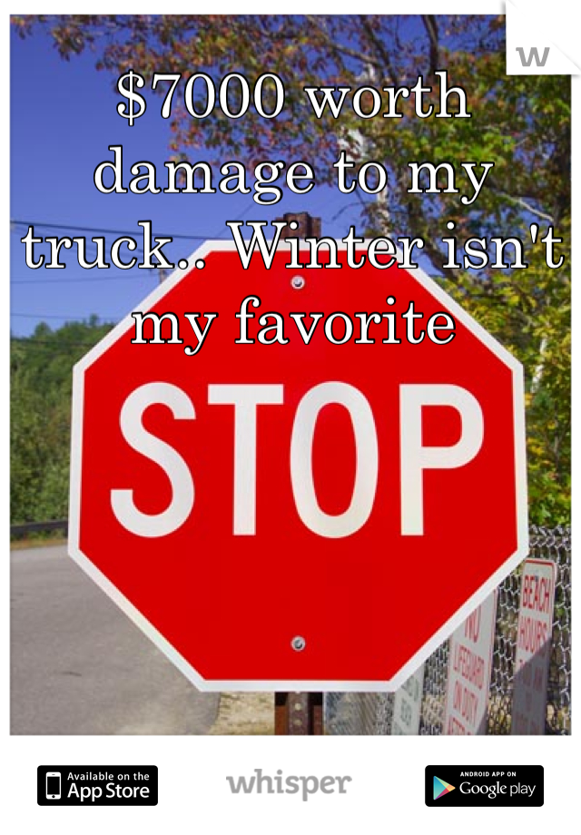 $7000 worth damage to my truck.. Winter isn't my favorite