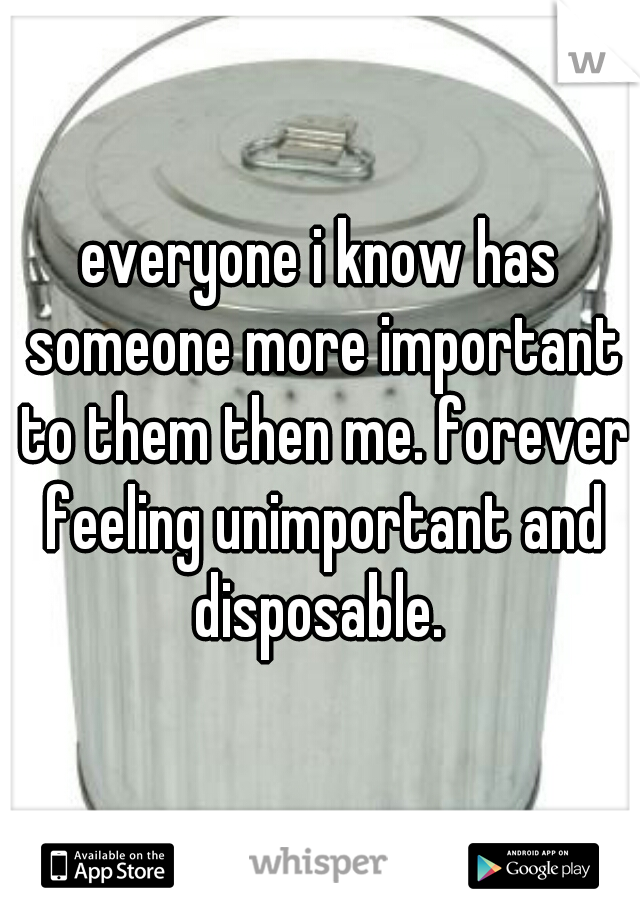 everyone i know has someone more important to them then me. forever feeling unimportant and disposable.