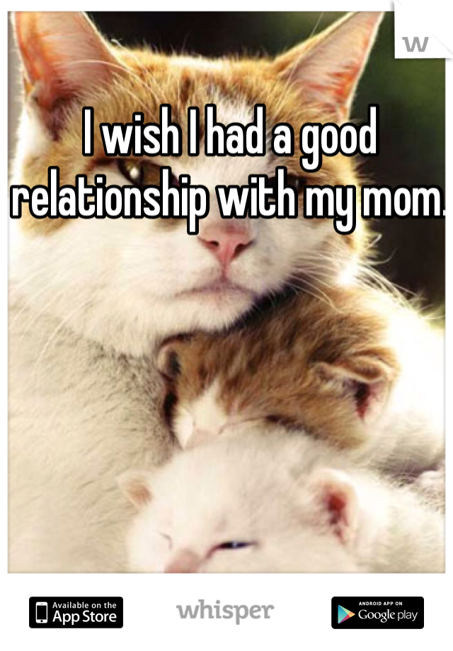 I wish I had a good relationship with my mom.