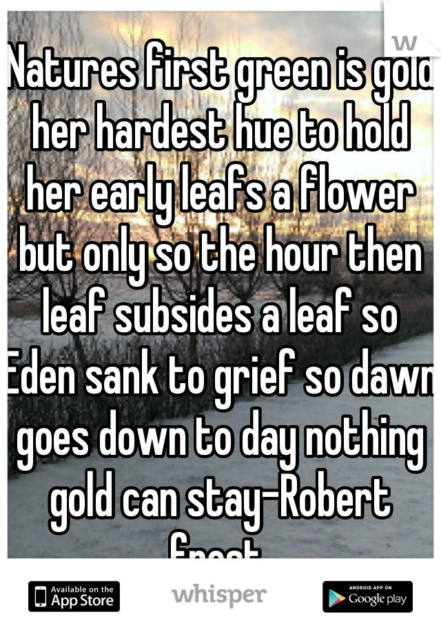 Natures first green is gold her hardest hue to hold her early leafs a flower but only so the hour then leaf subsides a leaf so Eden sank to grief so dawn goes down to day nothing gold can stay-Robert frost