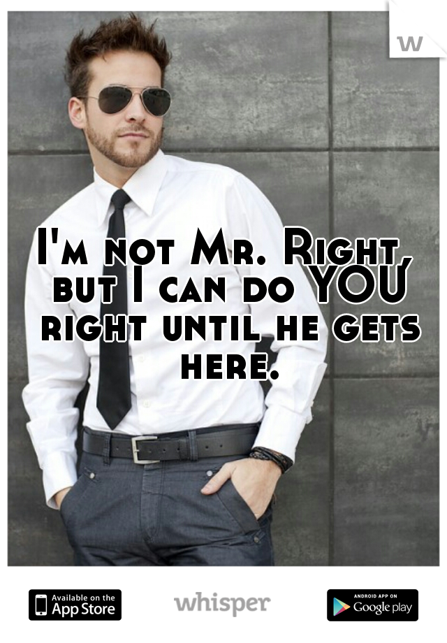 I'm not Mr. Right, but I can do YOU right until he gets here.