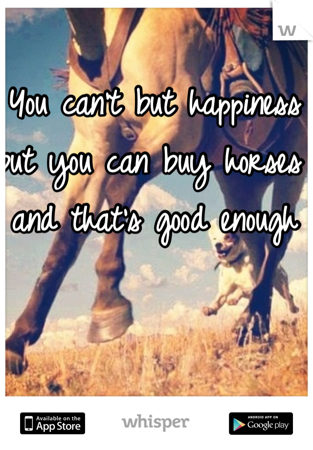 You can't but happiness but you can buy horses and that's good enough