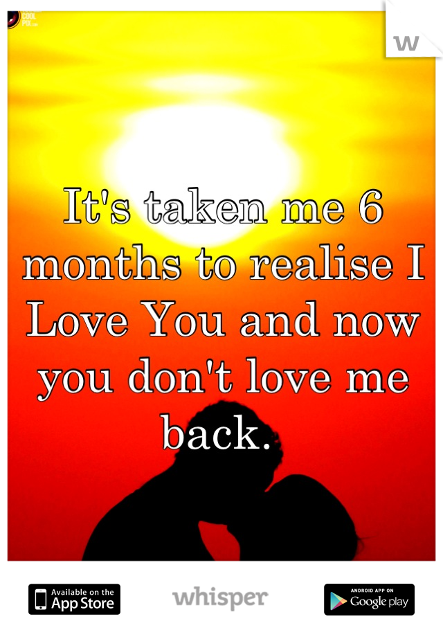 It's taken me 6 months to realise I Love You and now you don't love me back.