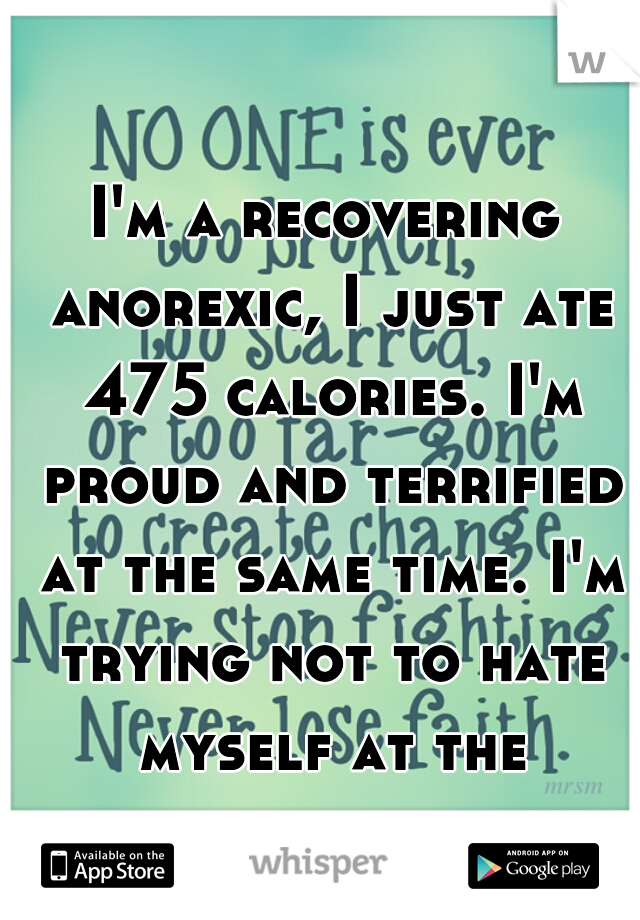 I'm a recovering anorexic, I just ate 475 calories. I'm proud and terrified at the same time. I'm trying not to hate myself at the moment.
