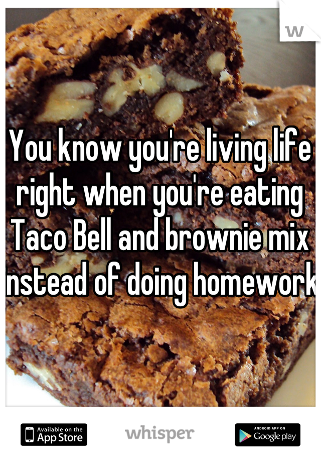 You know you're living life right when you're eating Taco Bell and brownie mix instead of doing homework