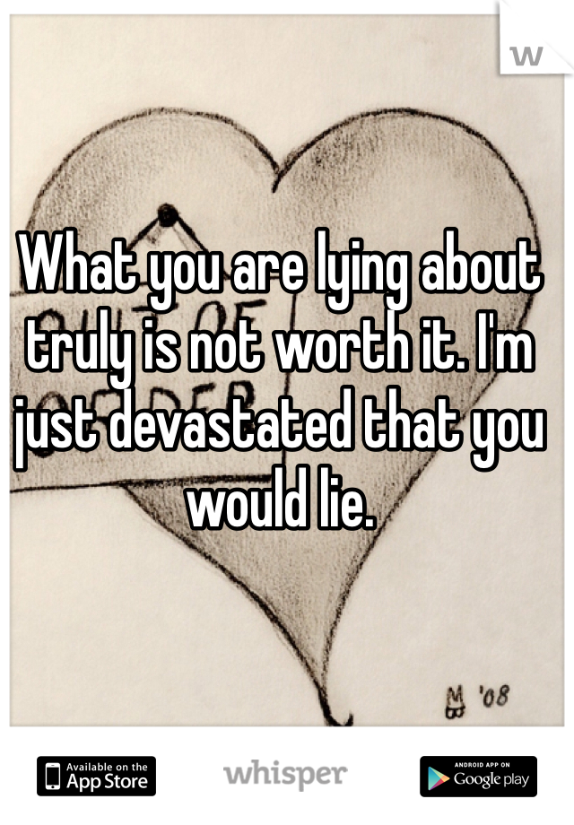 What you are lying about truly is not worth it. I'm just devastated that you would lie.