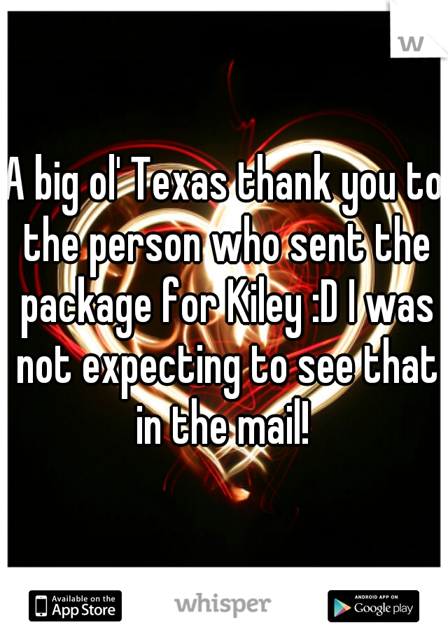 A big ol' Texas thank you to the person who sent the package for Kiley :D I was not expecting to see that in the mail!