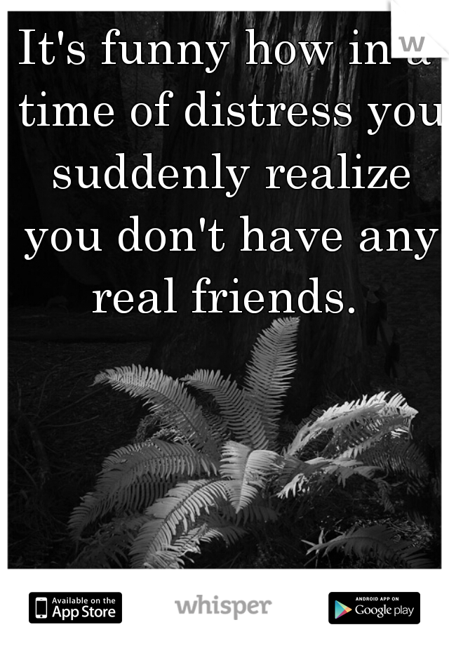 It's funny how in a time of distress you suddenly realize you don't have any real friends.