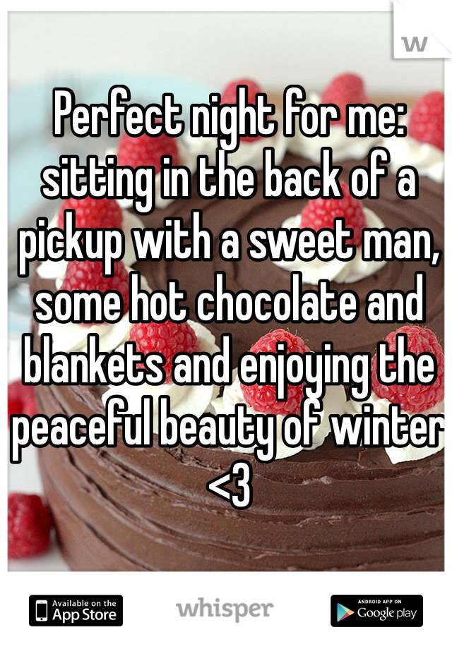Perfect night for me: sitting in the back of a pickup with a sweet man, some hot chocolate and blankets and enjoying the peaceful beauty of winter <3