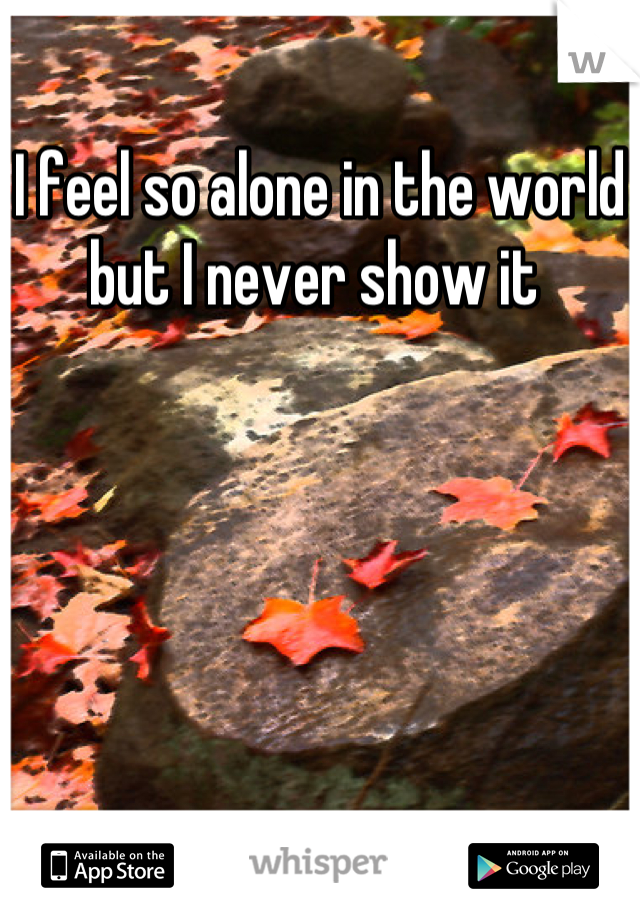 I feel so alone in the world but I never show it