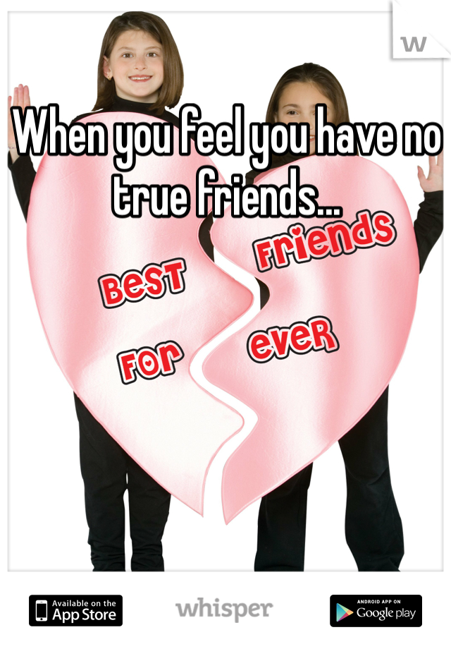 When you feel you have no true friends...