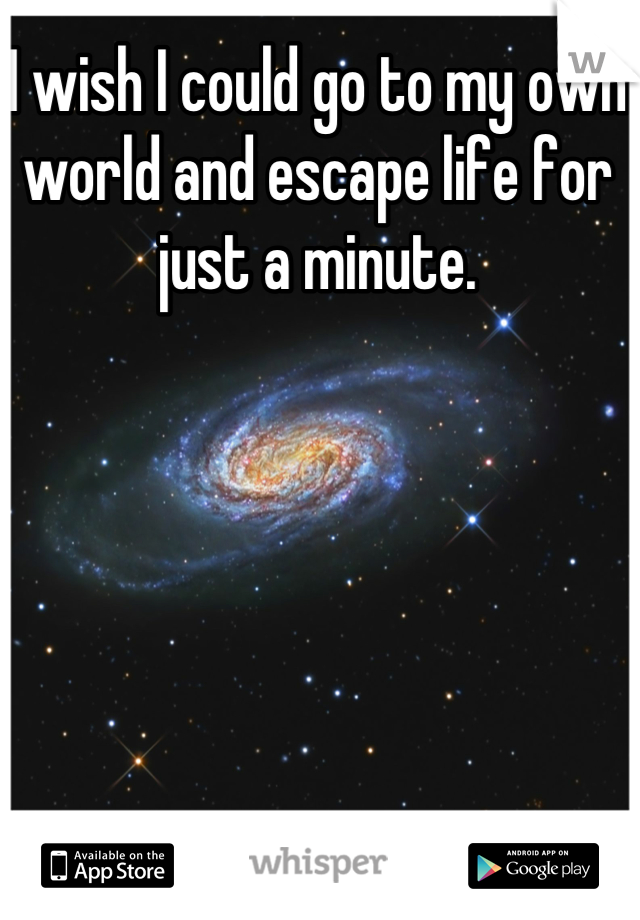 I wish I could go to my own world and escape life for just a minute.