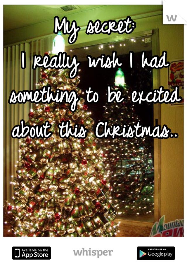 My secret:  I really wish I had something to be excited about this Christmas..
