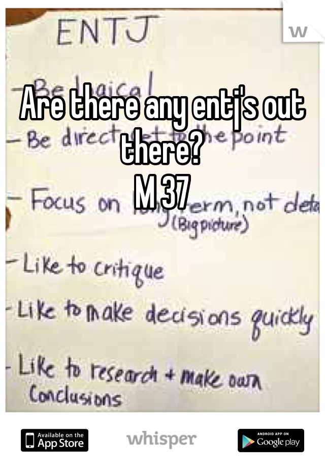 Are there any entj's out there?  M 37