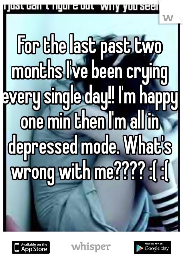 For the last past two months I've been crying every single day!! I'm happy one min then I'm all in depressed mode. What's wrong with me???? :( :(