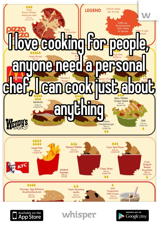 I love cooking for people, anyone need a personal chef, I can cook just about anything