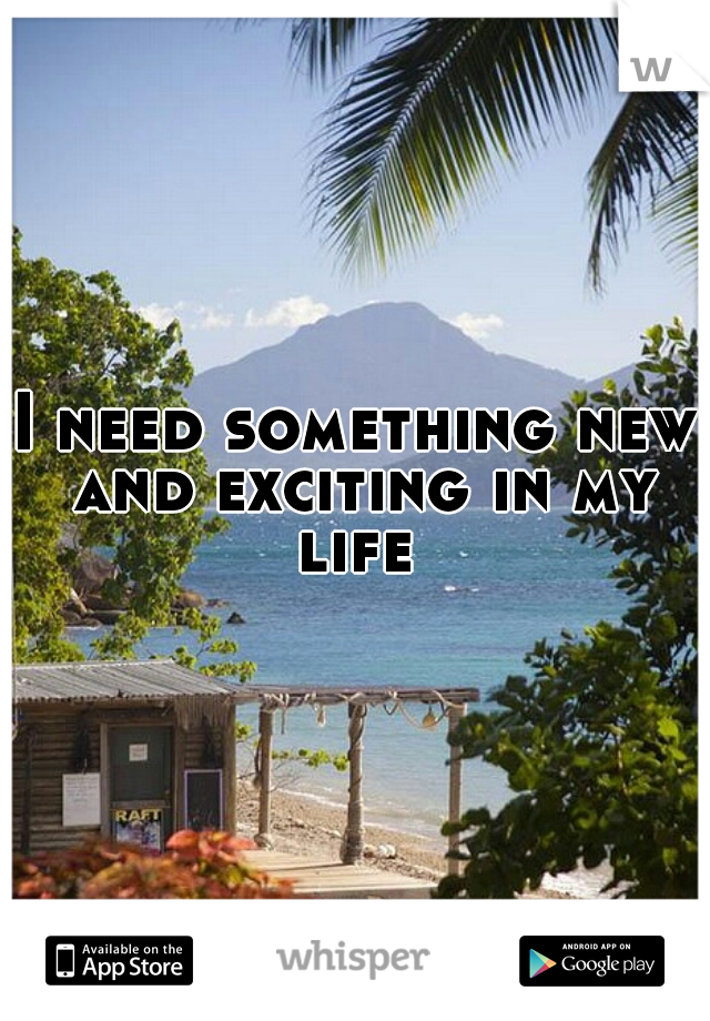 I need something new and exciting in my life