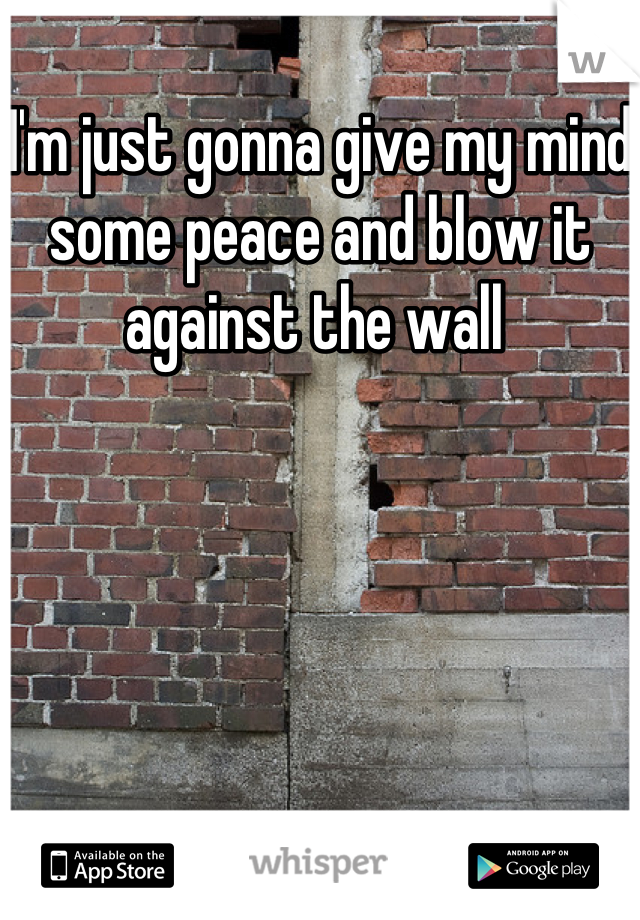 I'm just gonna give my mind some peace and blow it against the wall