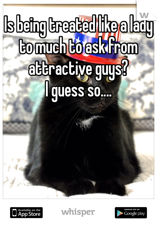 Is being treated like a lady to much to ask from attractive guys?  I guess so....