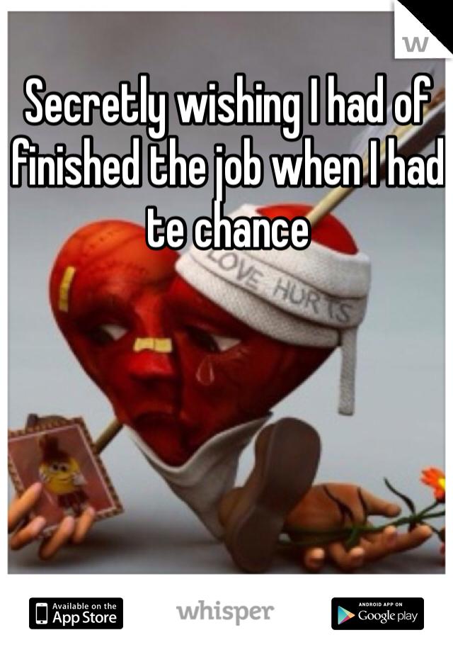Secretly wishing I had of finished the job when I had te chance
