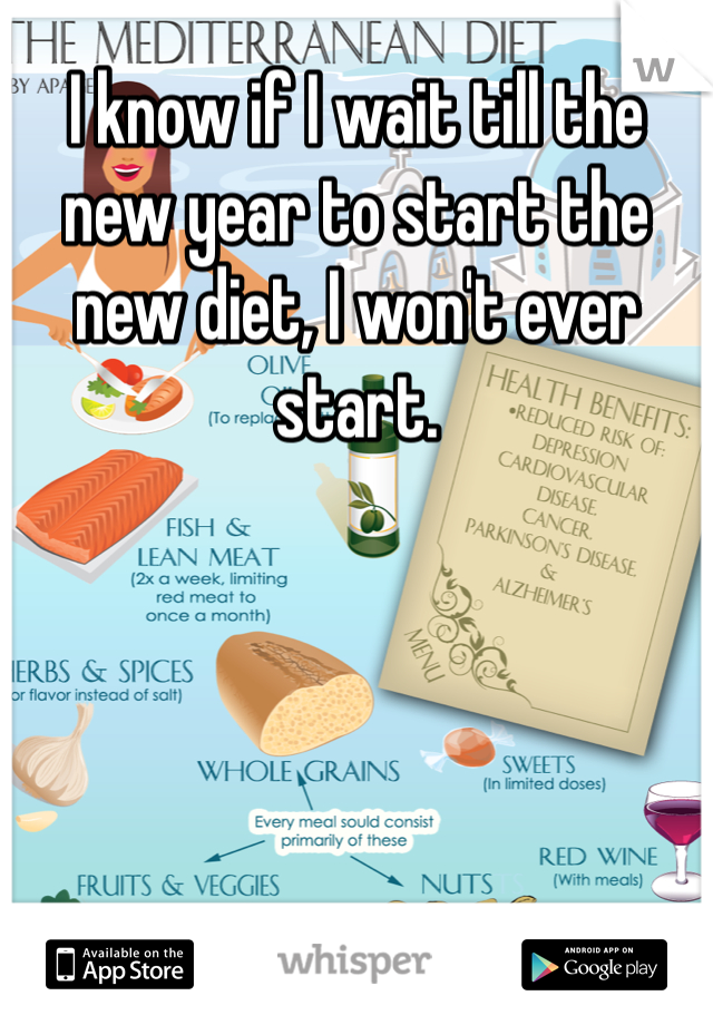 I know if I wait till the new year to start the new diet, I won't ever start.